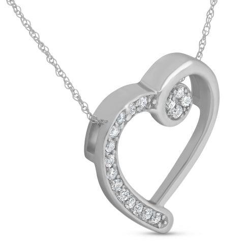1/4ct Diamond Heart Pendant 14k White Gold