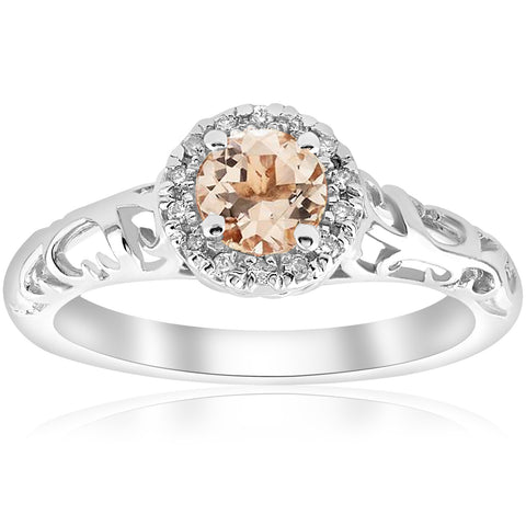 5/8cttw Morganite & Diamond Vintage Halo Engagement Ring 14k White Gold