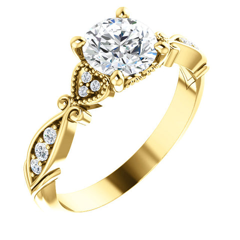 1 1/2ct Diamond Vintage Engagement Matching Wedding Ring Yellow Gold Enhanced