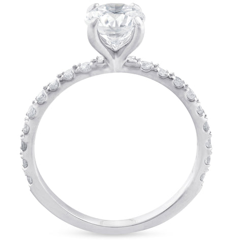1ct Diamond Solitaire Engagement Ring 14k White Gold Claw Prong