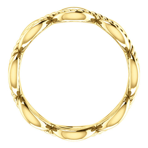 14k Yellow Gold Womens Rope Design 5mm Wedding Band Stackable Ring