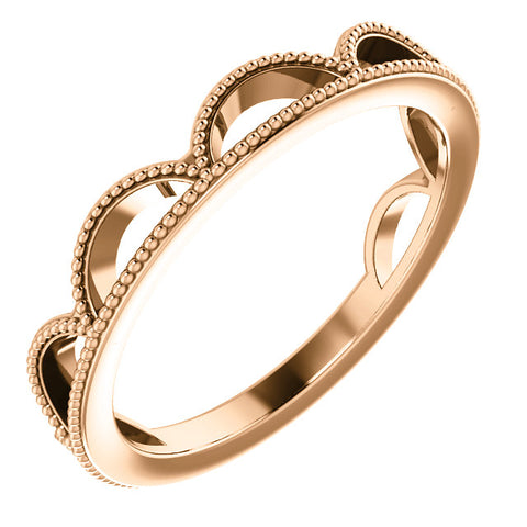 14k Rose Gold Womens Crown Design 4mm Wedding Band Stackable Ring