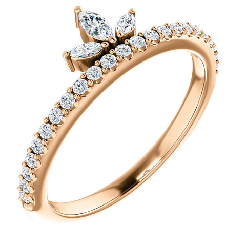 3/8ct 14k Rose Gold Womens Marquise Diamond Wedding Ring Stackable Band