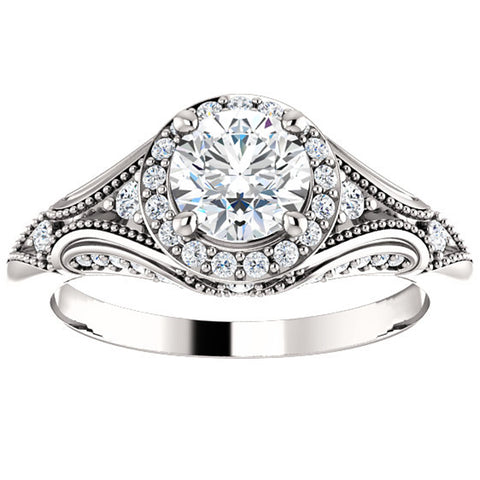 G/SI 1ct Vintage Diamond Engagement Halo Ring Enhanced 14k White Gold