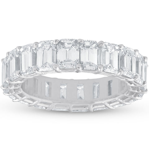 F/VS 7ct Emerald Cut Diamond Platinum Eternity Ring