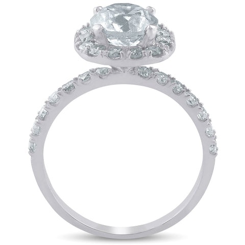 G/SI 2ct Round Diamond Cushion Halo Solitaire Engagement Ring Enhanced 14k Gold