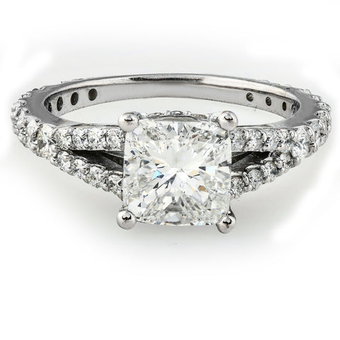 G/SI 2 1/2Ct Cushion Diamond Engagement Ring W/ Side Stones White Gold Enhanced