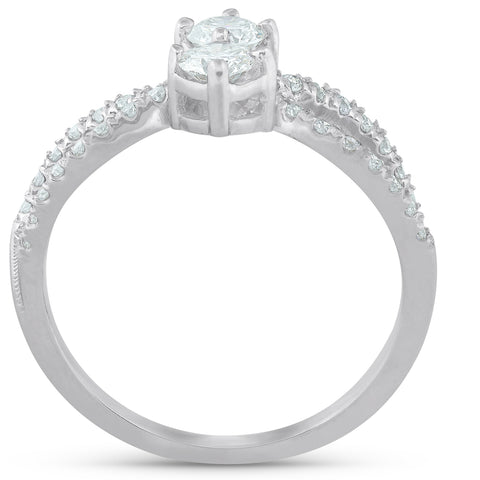 3/4 Ct Two Stone Diamond Engagement Forever Us Anniversary Ring 14k White Gold