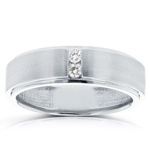 1/8 ct TDW Mens Brushed Diamond Wedding Ring 10k White Gold
