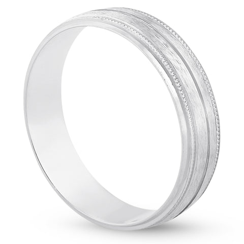 Platinum 5mm Brushed Ring Mens Hand Carved Wedding Band