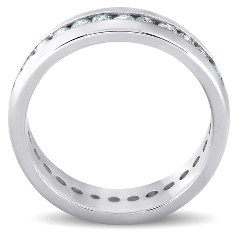 1 1/2 ct Mens Channel Set High Polished Comfort Fit Wedding Band Eternity Ring