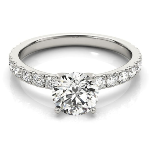 1 Ct Diamond Round Cut Engagement Ring Single Row 14k White Gold