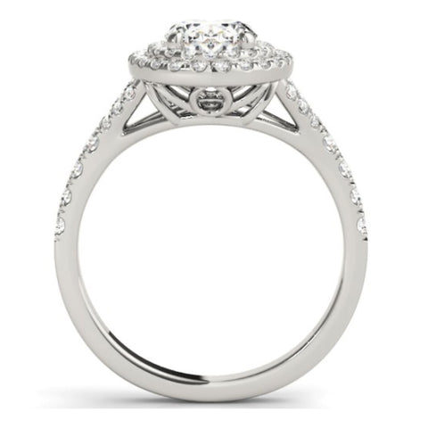 G/SI 1.60 Ct Oval Diamond Engagement Halo Ring & Matching Band 14k White Gold