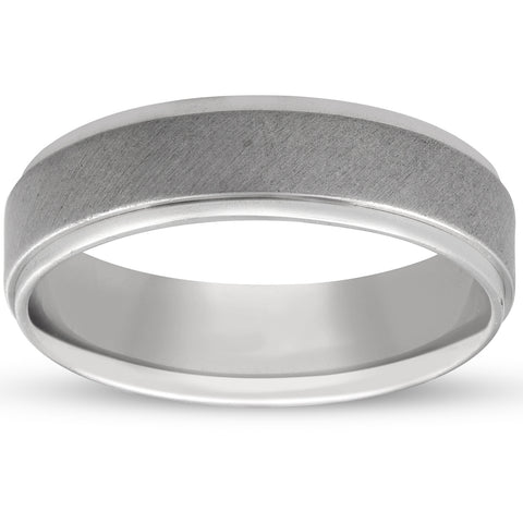 Mens 6mm Platinum Comfort Fit Brushed Ring Hand Carved Wedding Band