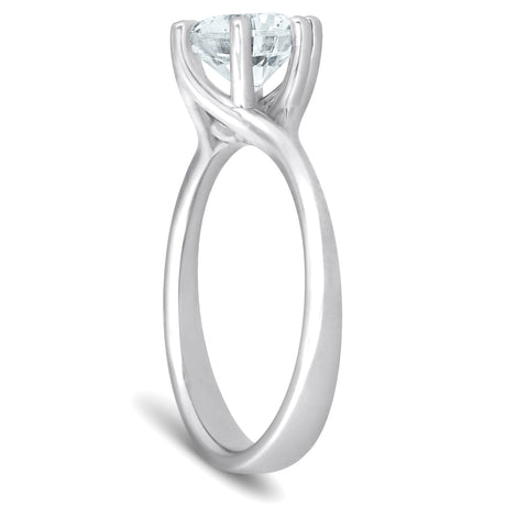 SI/H 1 Ct Round Diamond Engagement Six Prong Solitaire Ring White Gold Enhanced