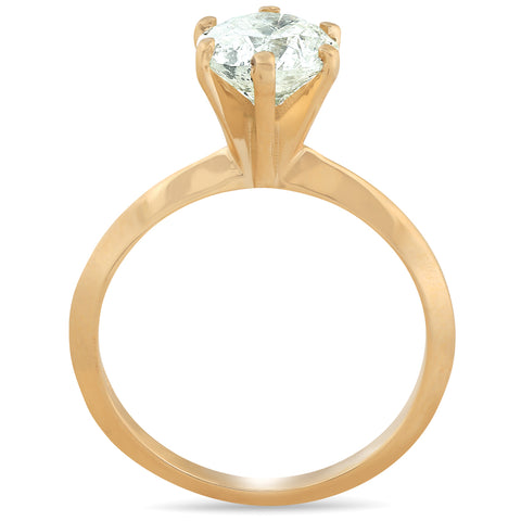 1 1/4 Ct Diamond Solitaire Engagement Ring 14k Yellow Gold Enhanced