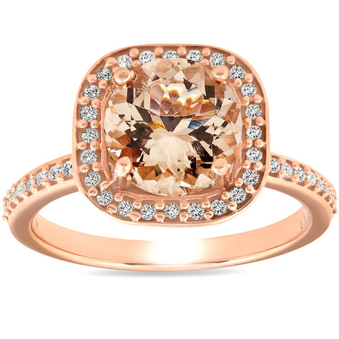 2 Ct Morganite & Diamond Cushion Halo Engagement Ring 14k Rose Gold
