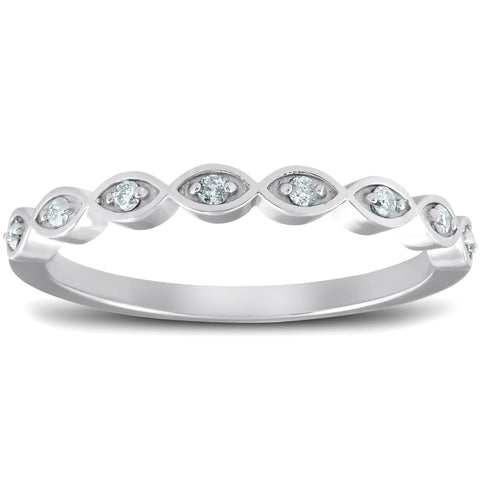 1/10 Ct Diamond Wedding Ring Womens Stackable 10k White Gold Anniversary Band