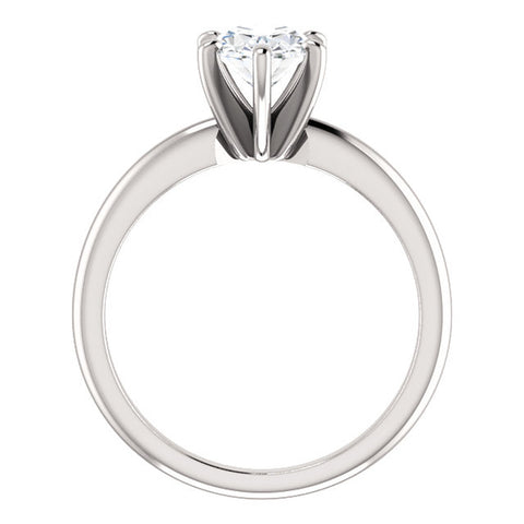 Platinum 1 Ct Oval Diamond H/SI Solitaire Engagement Ring Enhanced