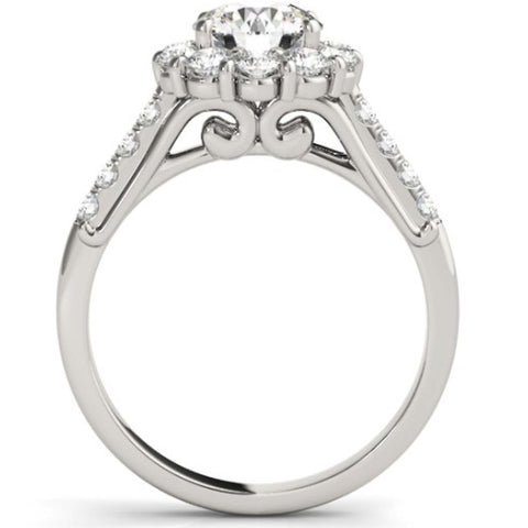 SI-G 2 1/2 Ct Halo Diamond Engagement Ring 14k White Gold Enhanced