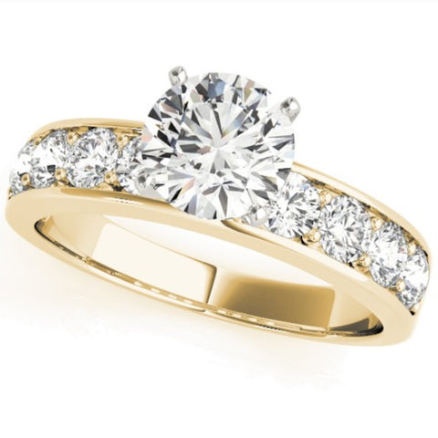 SI/G 2 Ct Round Cut Diamond Engagement Solitaire Ring 14k Yellow Gold Enhanced