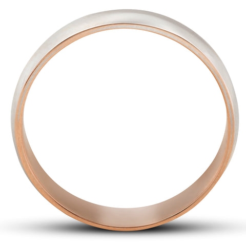 Rose Gold Two Tone Mens 5MM Dome Wedding Band Plain Polished Ring 10k