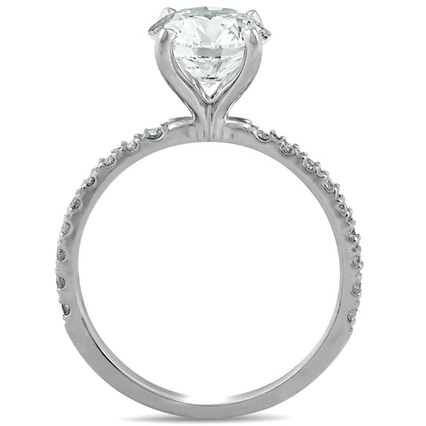 SI2/H 2.33 Ct Diamond Solitaire Engagement Ring 14k White Pave Set Enhanced