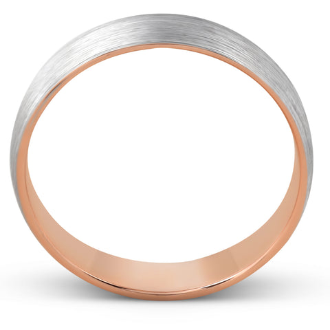Brushed Rose Gold Two Tone Mens 5MM Dome Wedding Band Plain Polished Ring 10k