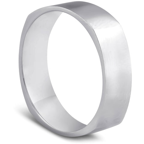 6MM Solid White Gold Mens Hand High Polished Squared Off Wedding Band