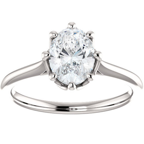 G/SI 1 Ct Oval Diamond 8-Prong Solitaire Engagement Ring 14k White Gold Enhanced