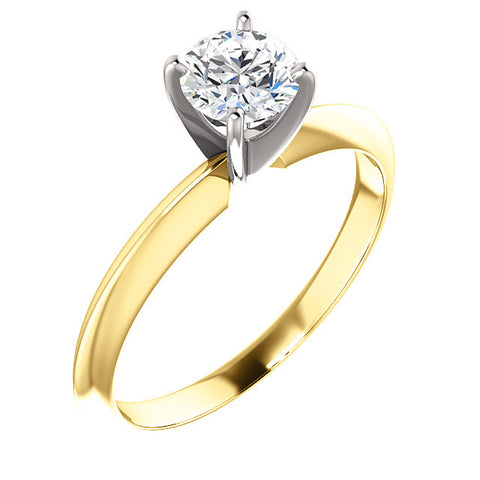 5/8 Ct Diamond Solitaire Round Cut Engagement Ring Two Tone 14k Yellow Gold