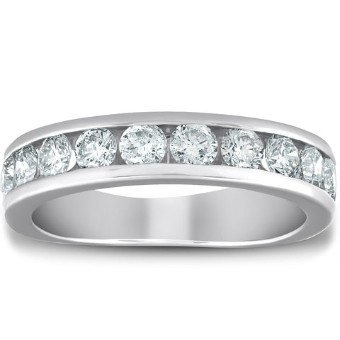 1 1/2 Ct Diamond Wedding Ring Channel Set Half Eternity Womens Band White Gold