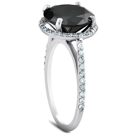 3 1/3 Ct Black Diamond Halo Engagement Ring 14k White Gold
