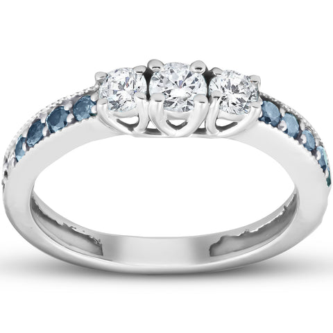 1/2 Ct Blue & White Diamond Three Stone Engagement Anniversary Ring White Gold
