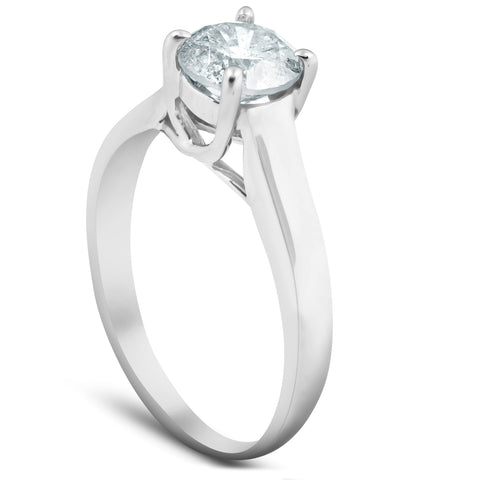 1 1/4 Ct Solitaire Round Cut Diamond Engagement Ring 14k White Gold Enhanced