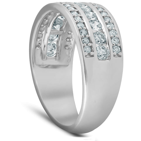 1 Ct Diamond Three Row Womens Anniversary Ring Wide Wedding Band White Gold
