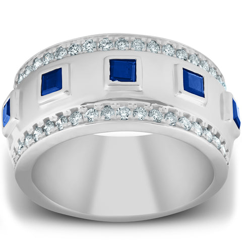 2 1/4 Ct Princess Cut Blue Sapphire & Diamond Wedding Ring 10k White Gold