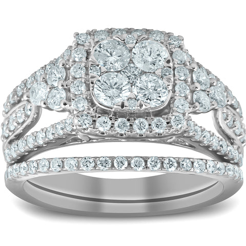 1 1/2 Ct Cushion Halo Round Diamond Engagement Wedding Ring Set 10k White Gold