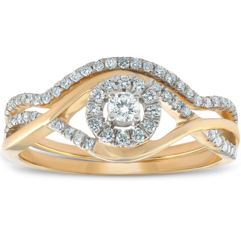 VS 1/2CT Diamond Engagement Wedding Ring Set Halo 10k Yellow Gold Lab Created