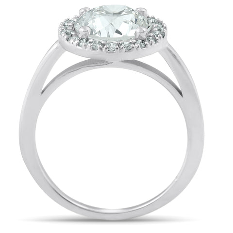 1 1/2 Ct Halo Round Diamond Low Profile Engagement Ring 14k White Gold Enhanced