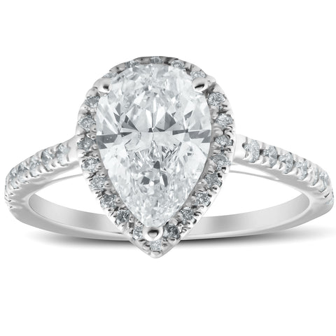 1 1/3 Ct Halo Pear Shape Diamond Low Profile Engagement Ring White Gold Enhanced