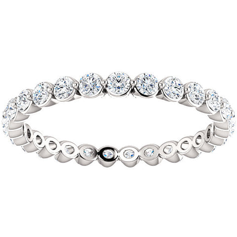 3/4 Ct Diamond Single Prong Eternity Ring Wedding Stackable Band 10k White Gold