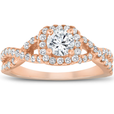 1 Ct Diamond Cushion Halo Engagement Ring 14k Rose Gold