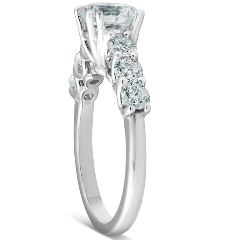 G/SI 2 Ct Diamond Engagement Ring (1Ct Center) 14k White Gold Enhanced