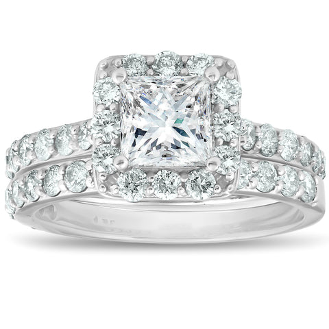 G/SI 2.50Ct Princess Cut Diamond Halo Engageent Ring Set 14k White Gold Enhanced