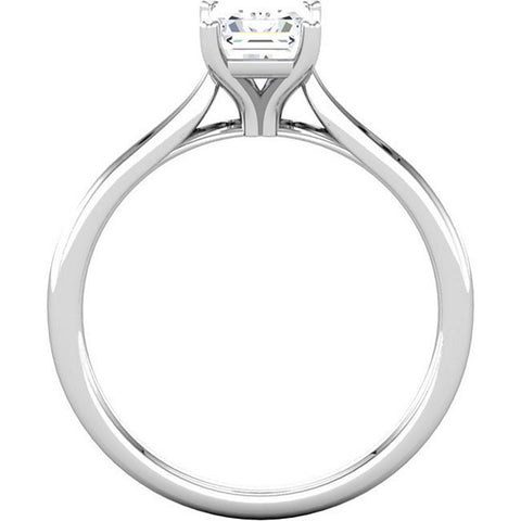 H/SI 1 Ct Emerald Diamond Solitaire Engagement Ring 14k White Gold Enhanced