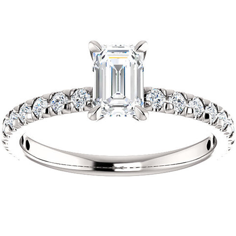 1 1/2 Ct Emerald Cut Diamond Engagement Ring 14k White Gold Enhanced