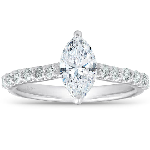 1 1/3 ct TDW Marquise Diamond Engagement Ring Side Stones Enhanced