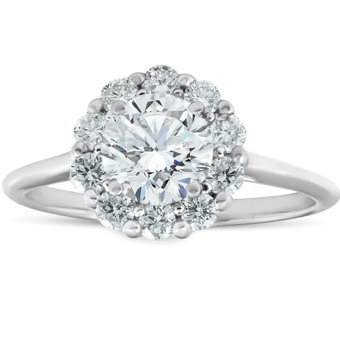 1 1/2 Ct TDW Halo Enhanced Diamond Engagement Ring With Plain Band White Gold