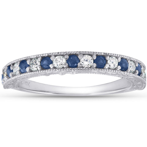 1/2Ct Blue Sapphire & Diamond Wedding Ring Anniversary Stackable Band White Gold